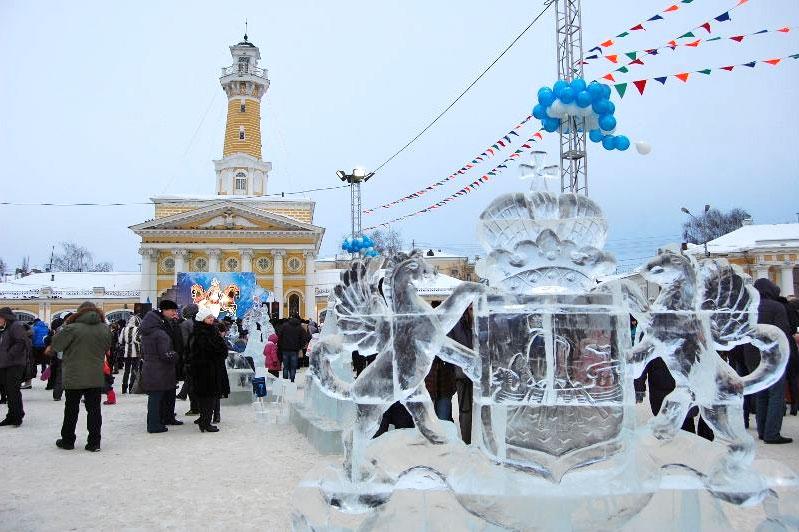 В Костроме Фестиваль ледовых скульптур вернули на Сусанинскую площадь