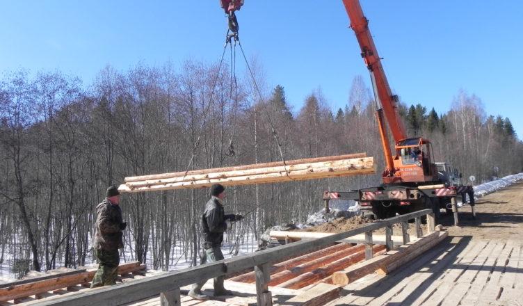 В Вохомском районе Костромской области начался ремонт деревянного моста через р. Проскуринка