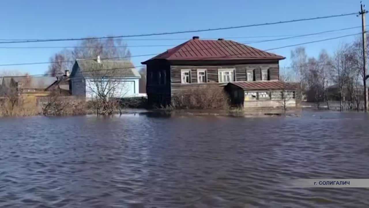 Река Кострома подошла вплотную к домам Солигалича